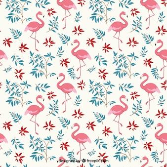 Flamingos und blumen