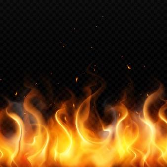Flamme des goldfeuers auf dunklem transparentem hintergrund mit realistisch fliegenden roten funken