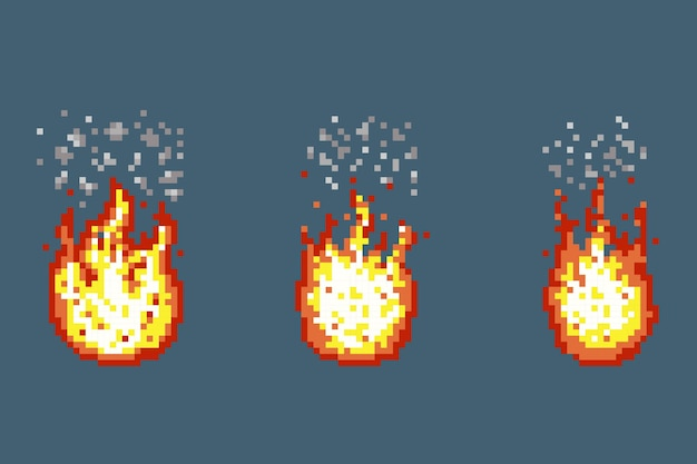 Flamme mit rauchanimationsrahmen im pixelkunststil.
