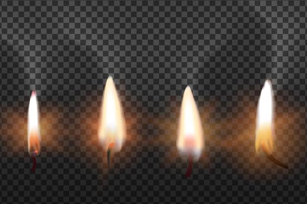 Flamme von kerzen auf transparentem hintergrund