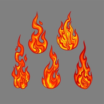 Flammen setzen sammlungsvektor