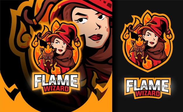 Flammen-zauberer-mädchen-maskottchen-logo