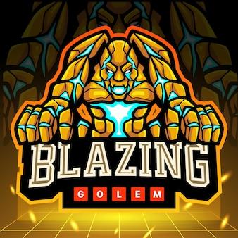 Flammendes golem-maskottchen. esport logo design