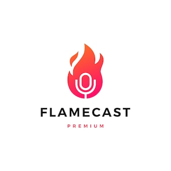 Flammenfeuer podcast mikrofon logo symbol illustration