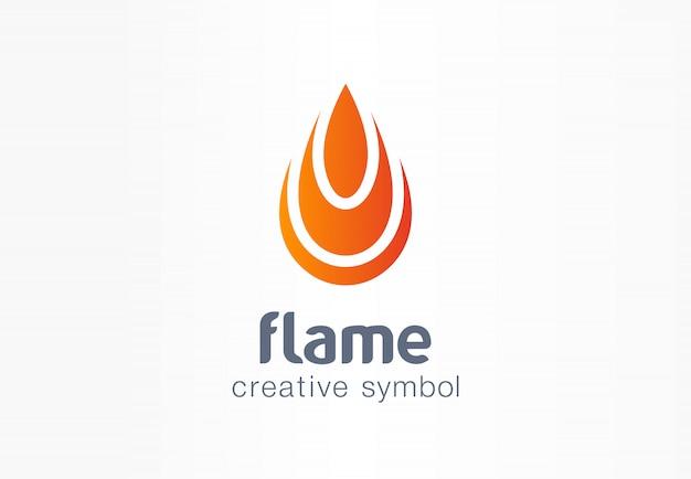 Flammenkreatives symbolkonzept. feuerenergie im abstrakten geschäftslogo der tropfenform. brennbare wasserbrennstoffkraft, hitzefeuer entzünden, gasverbrennungssymbol.