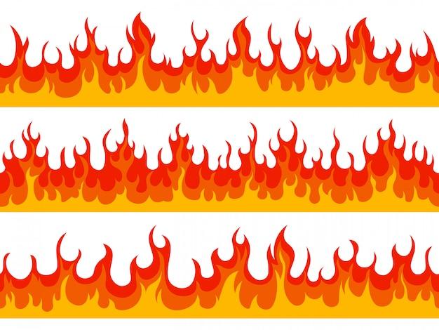 Flammenränder. feuer loderndes banner, brennende verheerende elemente der hitzefeuer-wildfeuer-silhouette, heißes flammendes randillustrationsset. feuerhitze, heiße grenzlinie, detailliert tobend brennbar