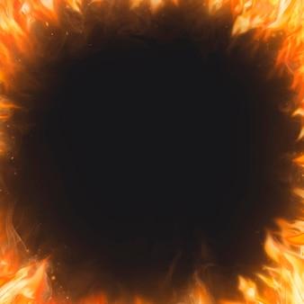 Flammenrahmenhintergrund, schwarzer realistischer feuerbildvektor