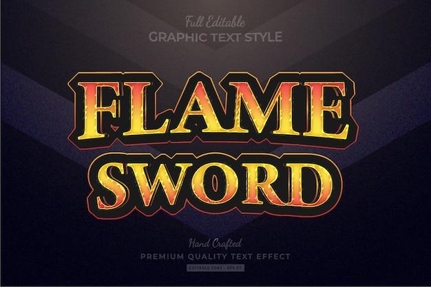 Flammenschwert rpg-spieltitel bearbeitbarer premium-texteffekt-schriftstil