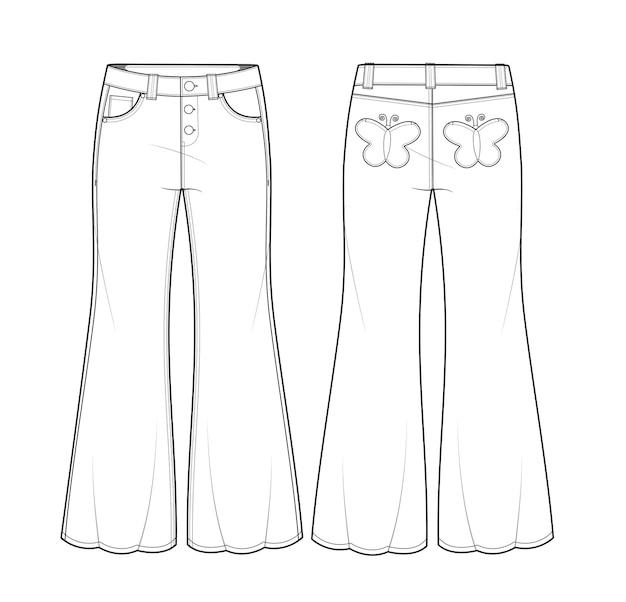 Flare jeans flache skizze design