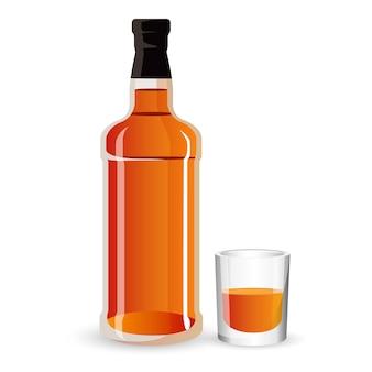 Flasche alkoholgetränk und stielglas auf weiß isoliert. starkes braunes getränkeikonezeichen whisky, scotch oder cognac. luxus-spirituosengetränk