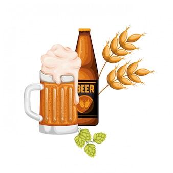 Flasche bier und glas isoliert symbol