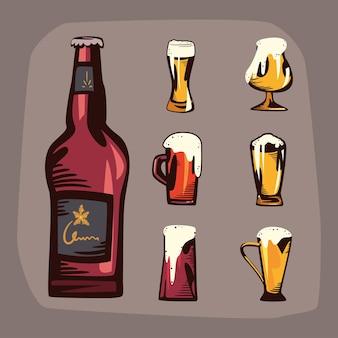 Flasche bier und glaskrüge mit bierschaum