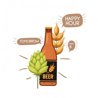 Flasche bier und weizen lokalisierte ikone