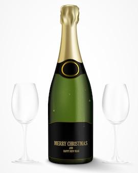 Flasche champagner auf hellem hintergrund