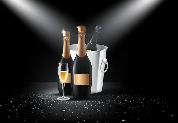 Flasche champagner, gläser