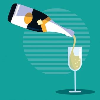 Flasche champagner mit tasse
