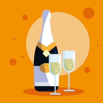 Flasche champagner mit tassen