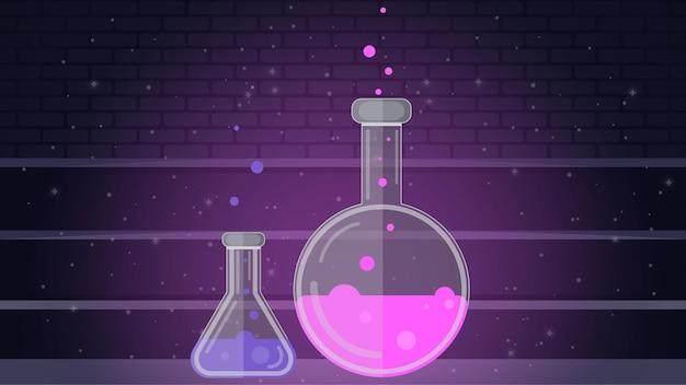 Flasche für chemie pharmazie chemieunterricht säure in glasfläschchen reagenzglas