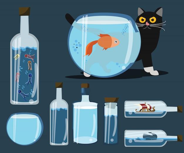Flasche für dekorationen vektor-illustration gesetzt