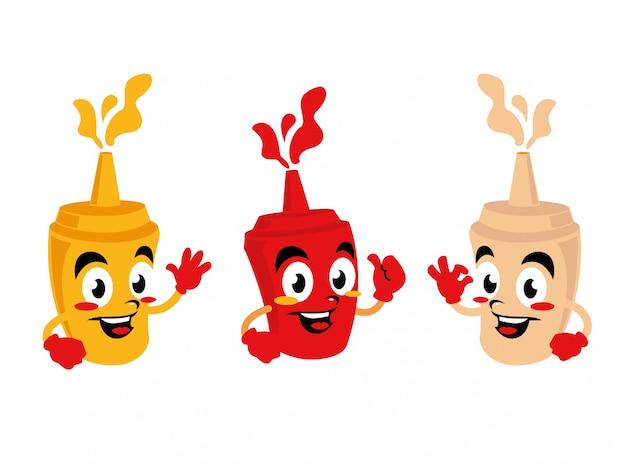 Flasche ketchup-mayonnaise-käse