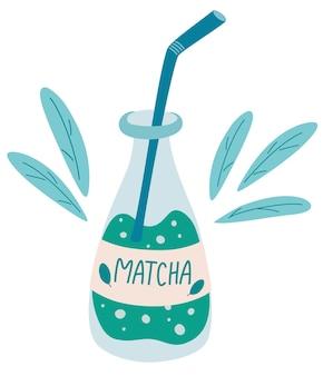 Flasche matcha-tee. glasflasche mit grünem matcha-getränk. traditionelles natürliches asiatisches getränk. erfrischender japanischer eistee oder kaffee mit strohhalm. der bubble tea. gesundheitsgetränk. vektor