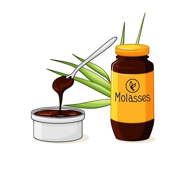 Flasche melasse. ein produkt aus zuckerrohr. eine schüssel mit einem löffel und sirup auf einem weißen, isolierten hintergrund. vektor-illustration.