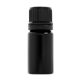 Flasche mit ätherischem öl. kleine schwarze glasflasche