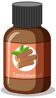 Flasche mit ätherischem sandelholzöl isoliert
