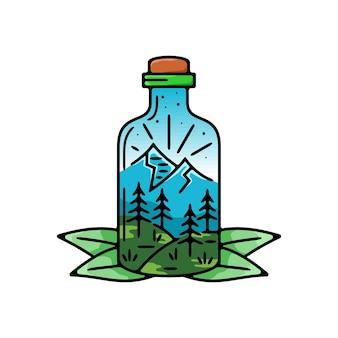 Flasche mit blick auf die berge monoline