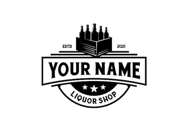 Flasche mit einer schachtel. vintage spirituosen-logo-design-vorlage inspiration