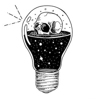 Flasche mit gezeichneter illustration des gesundheitstrank-, gift- und schädeltrankes hand