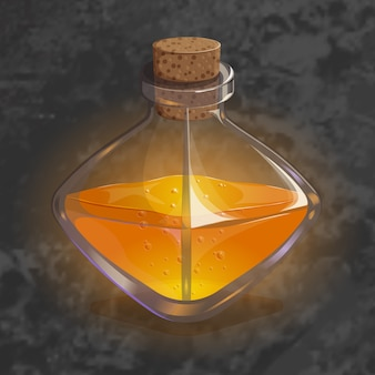 Flasche mit orangentrank. spielikone des magischen elixiers.