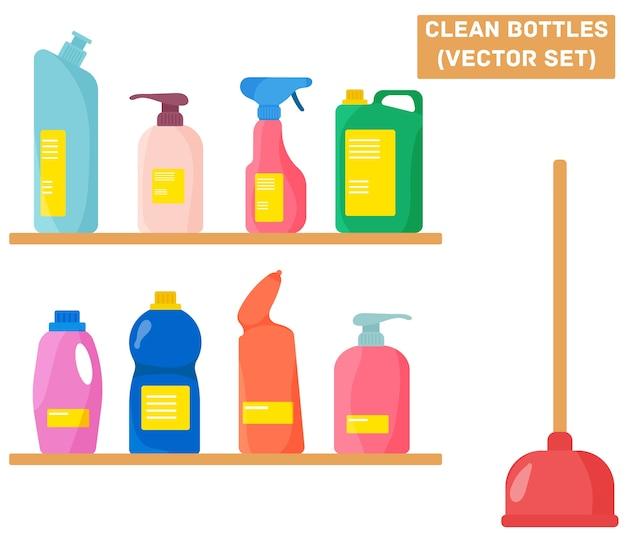 Flasche mit reinigungsmittel, reinigungsspray, lufterfrischer und waschflüssigkeit. eine gruppe von flaschen haushaltsreinigungsmittel. werkzeuge für die haushaltsreinigung im flachen stil.