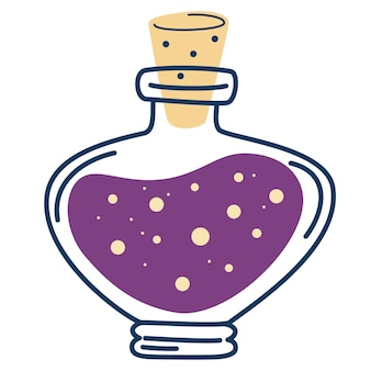Flasche mit tränken. magisches elixier. liebestrank. flasche und fläschchen mit alchemistischen getränken.