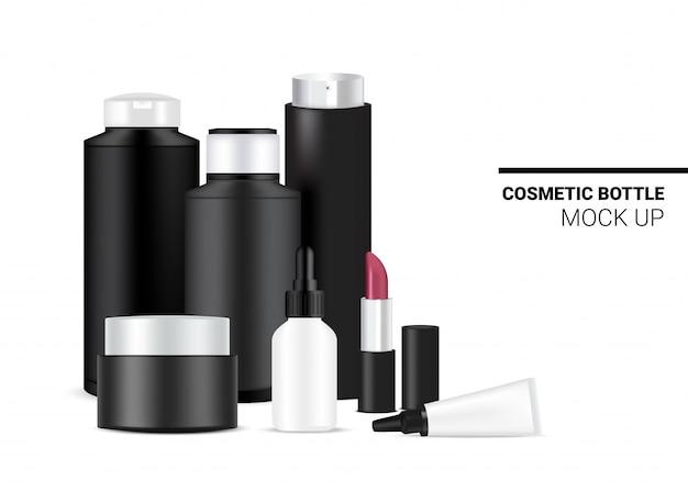 Flasche mock up realistische kosmetische schwarzweiss-schablonen-set für hautpflege