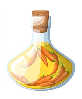 Flasche pflanzenöl mit roter chili-pfeffer-karikatur-speiseölflasche mit korkkappenillustration auf weißer hintergrundwebseite und mobiler app