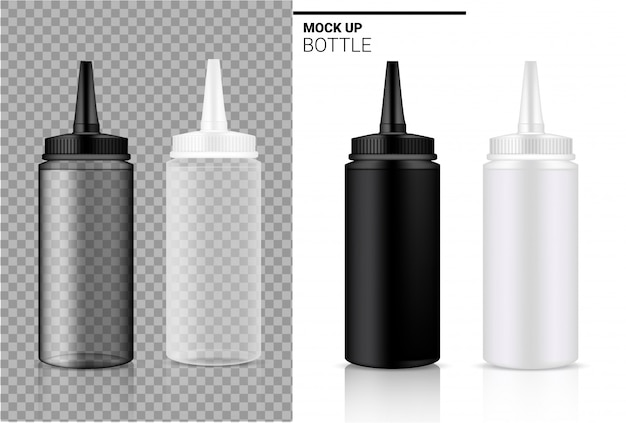Flasche realistische transparente weiße, schwarze und plastikampulle oder tropfflasche verpackung.