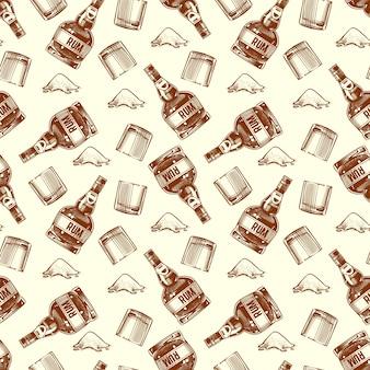 Flasche rum und kokain nahtlose muster