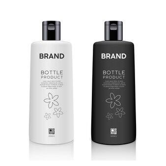 Flasche schwarz-weiß-produkte mockup design-kollektion isoliert auf weißem hintergrundvektor
