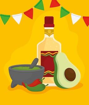 Flasche tequila mit guacamole, avocado, chili-pfeffer und hängenden girlanden