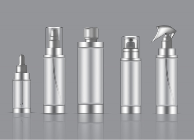 Flasche transparent realistic skincare product spray, schaumseife, pipette