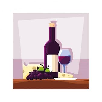 Flasche und glas wein mit einem stück käse und trauben