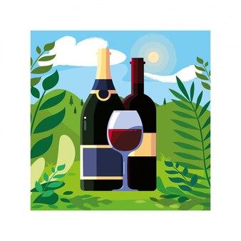 Flasche und glas wein mit landschaftshintergrund und natur