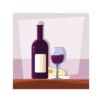 Flasche und glas wein mit stück käse