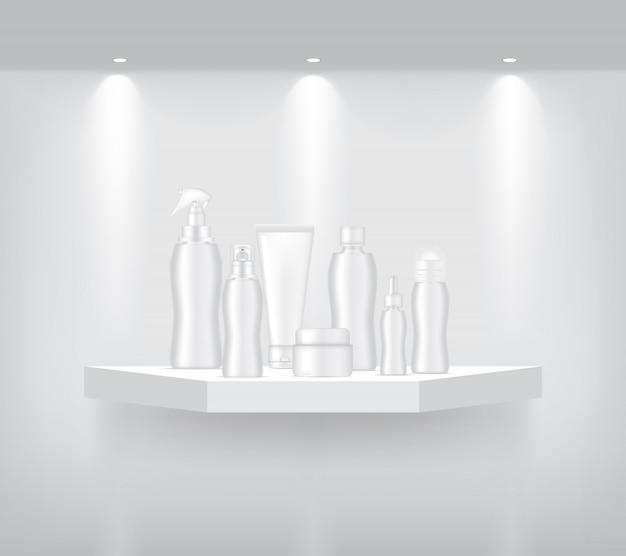 Flasche und tube mock-up auf realistische geometrische regal