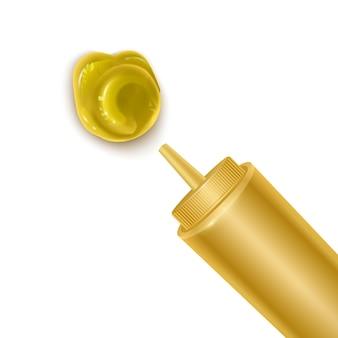 Flasche und verschüttete senfsauce