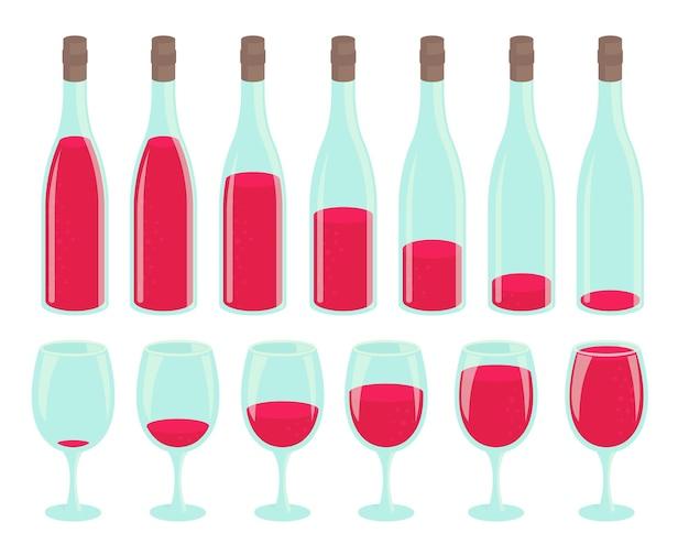Flasche unterschiedliche menge getränk. satz gläser mit rotem getränk.
