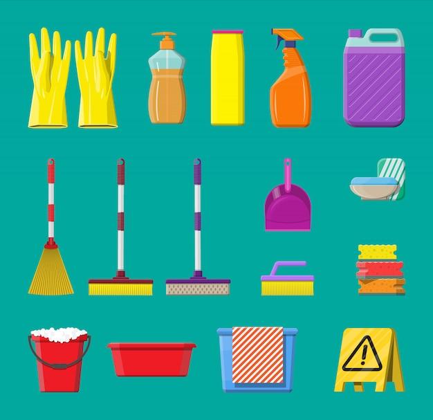 Flasche waschmittelschwammseife und gummihandschuhe