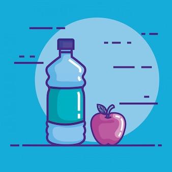 Flasche wasser mit apfel