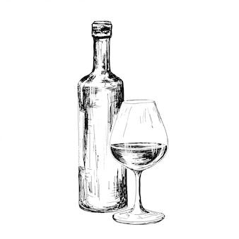 Flasche wein zeichnung
